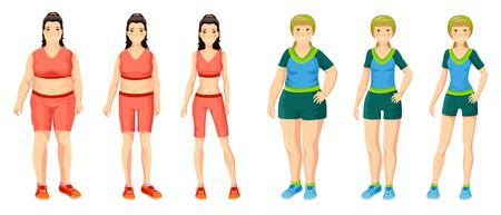 Cartoon women weight loss concept with girls before and after sport active lifestyle and dieting isolated vector illustration Stock Vector - 77100796