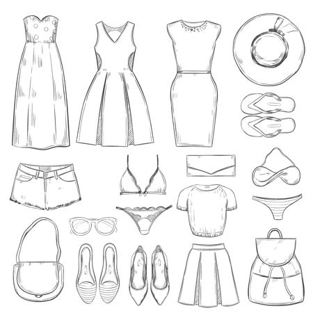 short trip: Hand drawn female summer clothes set with dresses hats jeans shorts shoes slippers lingerie clutch backpack sunglasses isolated vector illustration