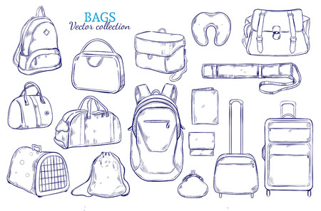 Hand drawn travel luggage set with baggage suitcases backpack purse tube animal crate bags pillow isolated vector illustration