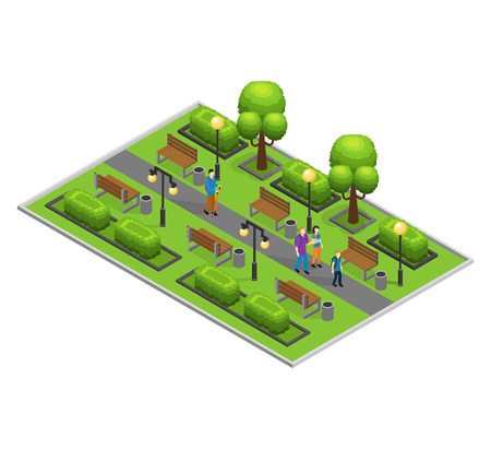 Isometric city park concept with walking people green trees bushes lanterns and benches vector illustration Illustration