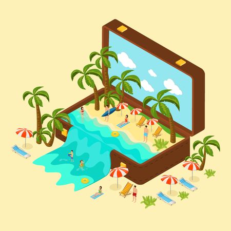 Isometric beach vacation concept with relaxing people palm trees chaise lounges and sea in traveling bag vector illustration Illustration