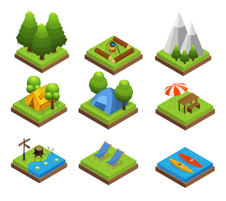 Isometric traveling camping collection with green plants mountains and outdoor recreation elements on squares isolated vector illustration