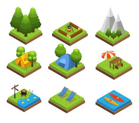 Isometrische reizende kamperende inzameling met groene installatiesbergen en openluchtrecreatieelementen op vierkanten geïsoleerde vectorillustratie