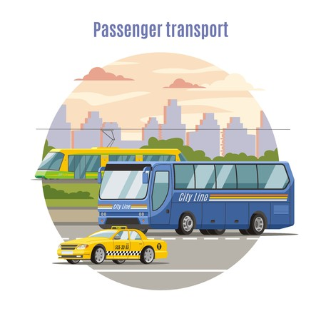 Urban public passenger vehicles template with taxi car bus on road and tram vector illustration Illustration