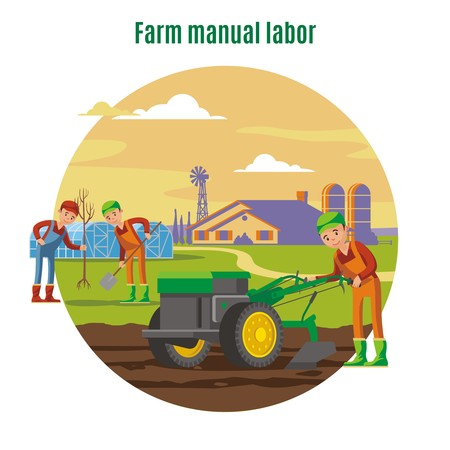 Farming and agricultural manual labor concept with farmers tree planting and field plowing vector illustration Reklamní fotografie - 77100916
