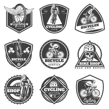 Monochrome cycling labels set with cyclists riding bikes sport equipment bicycle parts and skull isolated vector illustration