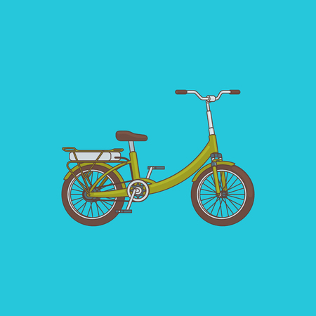 Detailed bike concept with green frame in cartoon style on blue background isolated vector illustration Иллюстрация