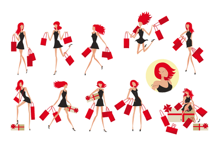 Colorful fashionable attractive women set with young girls holding shopping bags in different poses isolated vector illustration