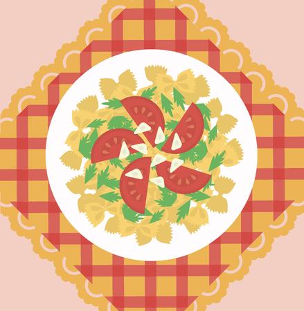 Italian Pasta Dish Concept Ilustrace