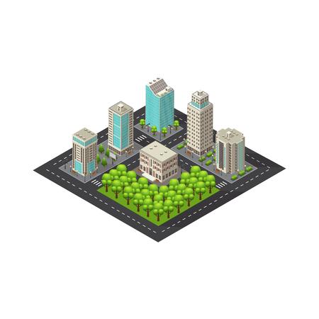 Modèle de paysage isométrique de la ville Banque d'images - 77164909