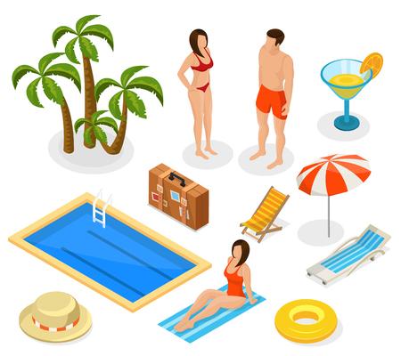 recliner: Isometric Summer Vacation Elements Set Illustration