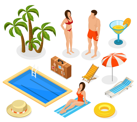 Isometric Summer Vacation Elements Set Illustration