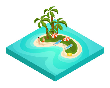 recliner: Isometric Tropical Beach Vacation Concept Illustration