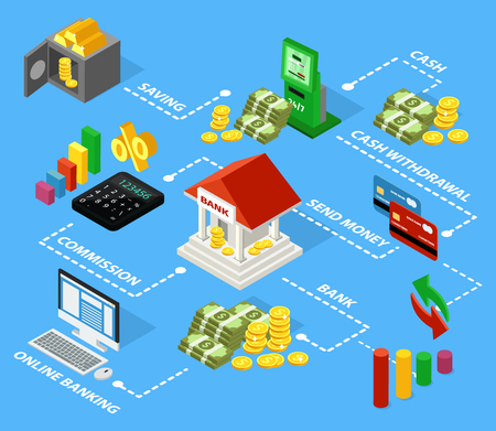 Colorful Isometric Financial Flowchart Concept Royalty Free Cliparts