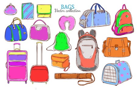 clutch: Doodle Colored Travel Baggage Collection