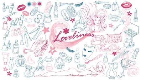 手描き美容要素のコレクション