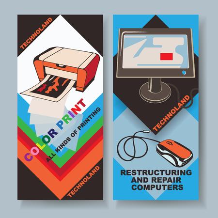 Karten für Drucken und Computerreparaturdienste Standard-Bild - 77171529