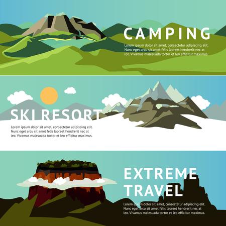 Outdoor Recreation Horizontal Banners Illustration
