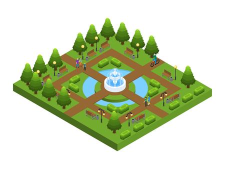 Isometric Green City Park Concept Illustration