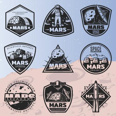 Black Vintage Space Discovery Labels Set Illustration
