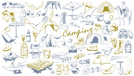 Handgetekende Camping Elements Set