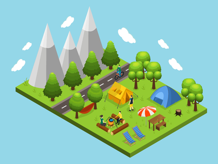 Isometric Summer Camping Concept