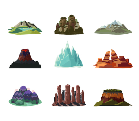 Colorful Mountains Icons Set Ilustrace