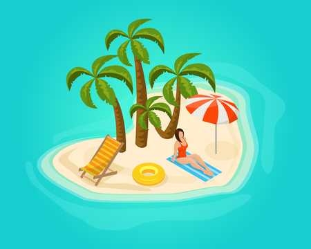 recliner: Isometric Island Vacation Concept Illustration