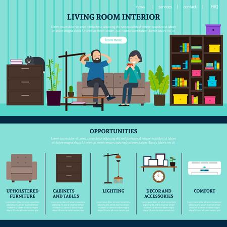 creative furniture icons set flat design. Flat Design Studio Website Template Vector Creative Furniture Icons Set