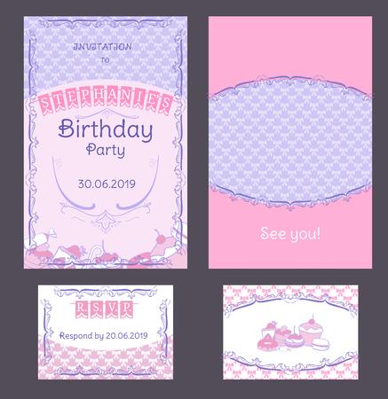 Colorful Vintage Birthday Invitation Cards Set Illustration