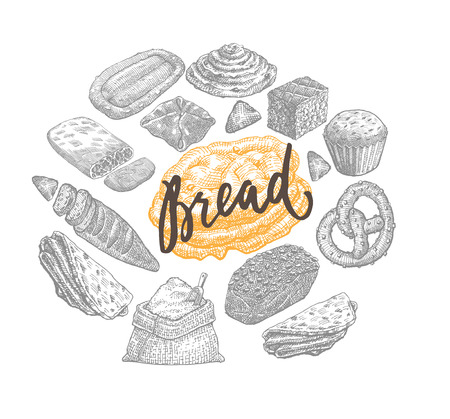 Hand Drawn Bakery Concept Illustration