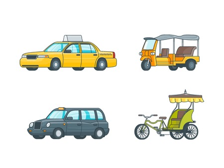 sedan: Colorful Taxi Transport Collection Illustration