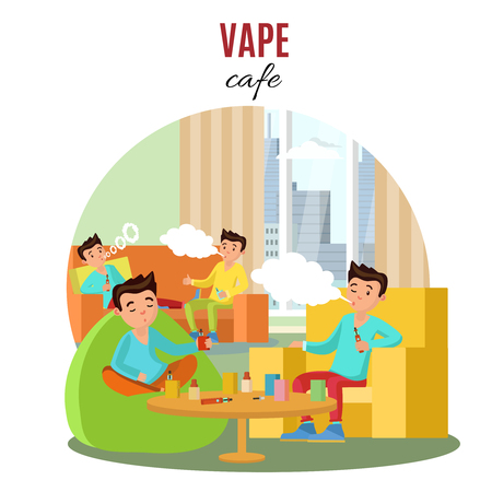 Colorful Vape Cafe Concept Illustration