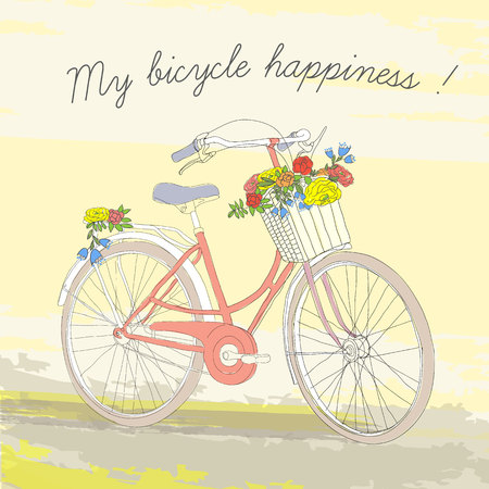 Colorful Vintage Spring Bicycle Poster Stock Vector - 77446011