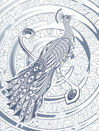 Hand getekend mooie Peacock sjabloon Stock Illustratie
