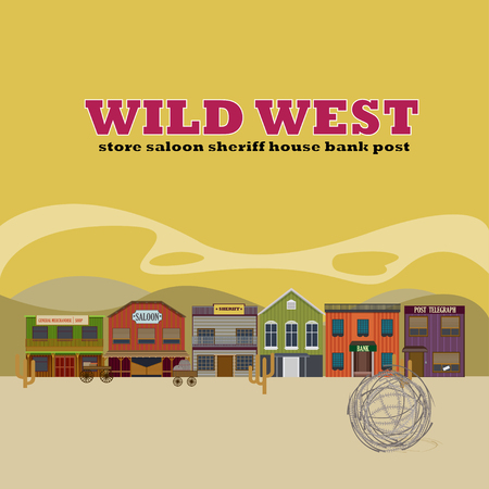Flat Wild West Street Scenery Background Illustration