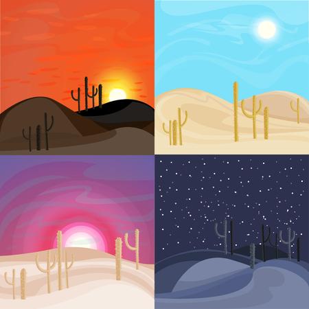 砂砂漠風景テンプレート  イラスト・ベクター素材