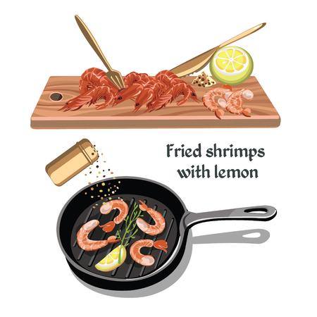 Colorful Sketch Seafood Concept Ilustração