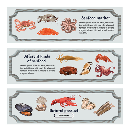 crab meat: Colorful Hand Drawn Seafood Horizontal Banners