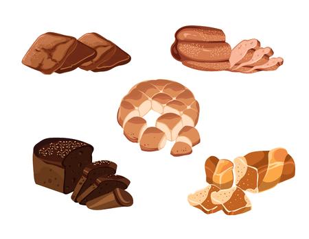 produits céréaliers: Ensemble de produits de pâtisserie à la main colorés