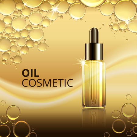 Helder kosmetisch olieadvertentiesmalplaatje met realistisch pakket op glanzende lichte vectorillustratie als achtergrond