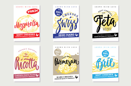 Sketch natural cheese brochures with inscriptions and products of different sorts and varieties vector illustration