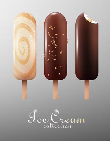 Eskimo de glace classique réaliste sertie de lait blanc et glaçures au chocolat noir isolé illustration vectorielle Banque d'images - 77570337