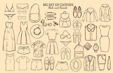 short trip: Doodle wardrobe elements collection with male and female clothes and accessories on brown background isolated vector illustration Illustration