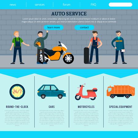 専門職従事者や車バイク トラック修理機会ベクトル図とフラット自動サービス web サイト テンプレート  イラスト・ベクター素材