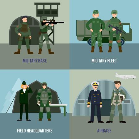 フラット スタイルのベクトル図に軍隊の兵士と軍のさまざまな種類のカラフルな軍事平方コンセプト