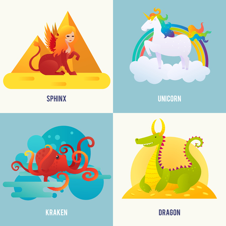 Fantasy creatures concept with sphinx sitting near pyramids unicorn walking on cloud kraken in water dragon lying on gold vector illustration