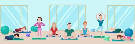 Het kleurrijke vlakke concept van de yogaklasse met mensen op matten in verschillend stelt in gymnastiek vectorillustratie