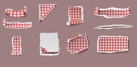 ギンガム チェック テーブル クロス パターン分離ベクトル図でさまざまな形のカラフルな引き裂かれ、不規則なペーパー セット