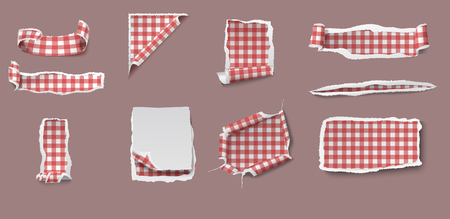 Colorful torn and ragged paper set of different shapes with gingham tablecloth pattern isolated vector illustration Çizim
